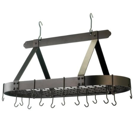 "Old Dutch 107BZ Oval Oiled Bronze Pot Rack with Grid, 16 Hooks 36"" x 19"" x 15 1/2"""