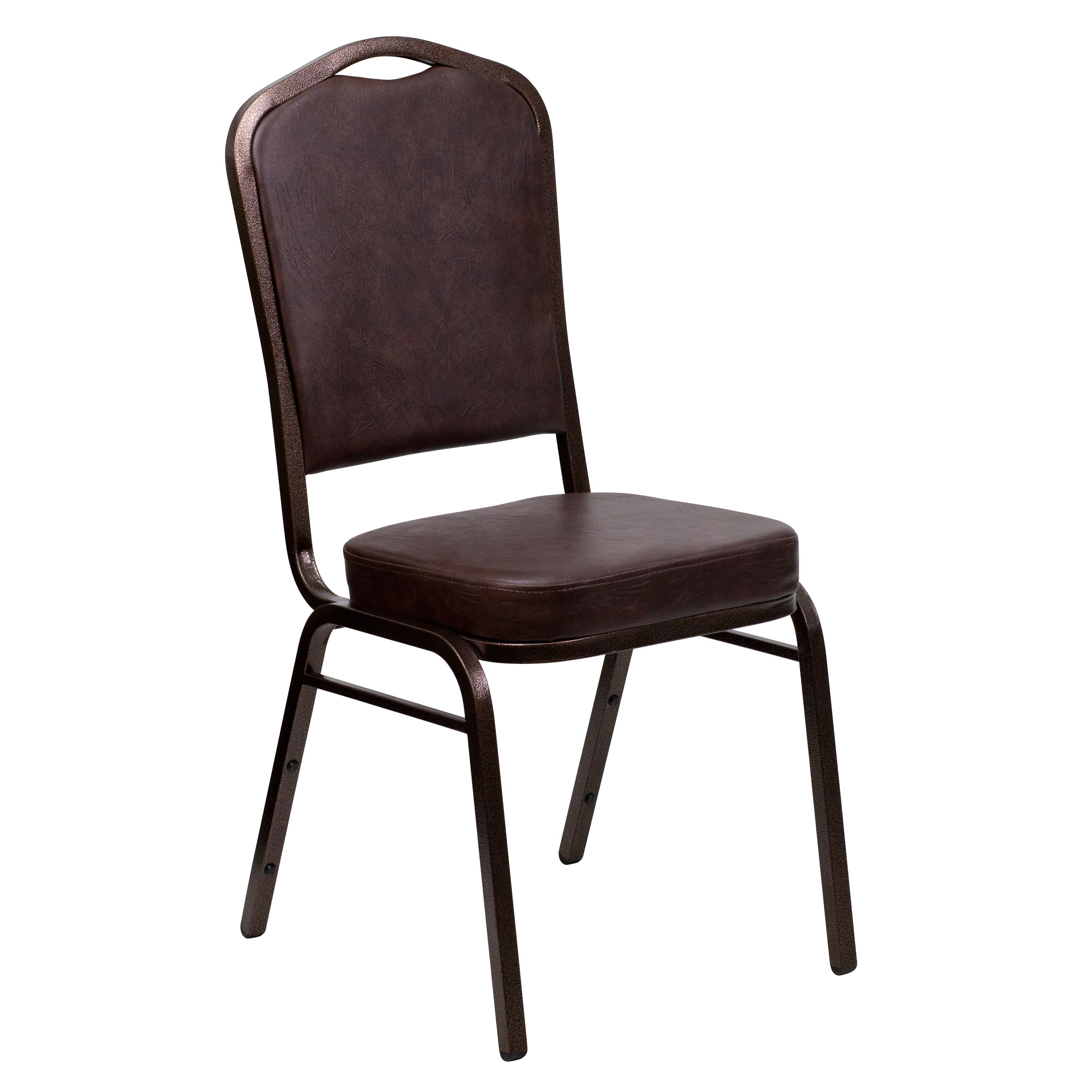 Flash Furniture FD-C01-COPPER-BRN-VY-GG HERCULES Series Crown Back Stacking Banquet Chair with Brown Vinyl/Copper Vein Frame