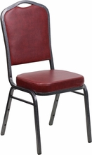 Flash Furniture FD-C01-SILVERVEIN-BURG-VY-GG HERCULES Series Crown Back Stacking Banquet Chair with Burgundy Vinyl/Silver Vein Frame