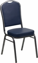 Flash Furniture FD-C01-SILVERVEIN-NY-VY-GG HERCULES Series Crown Back Stacking Banquet Chair with Navy Vinyl/Silver Vein Frame