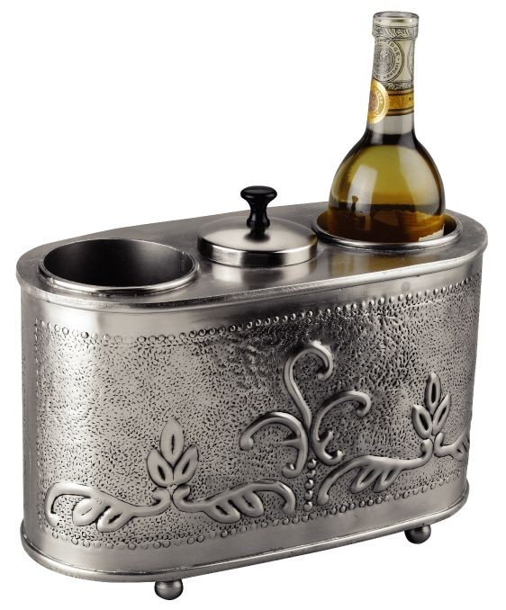 "Old Dutch International 430 Victoria Antique Embossed Pewter 2 Bottle Wine Chiller 12 1/2"" x 6"" x 9 1/4"""