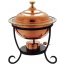 Round Decor Copper Chafing Dish, 3 Quarts