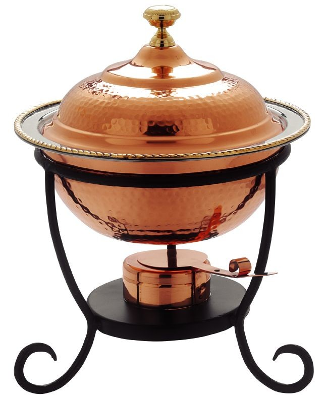 Old Dutch International 891 Round Decor Copper Chafing Dish, 3 Qt.