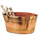 Old Dutch International 879 Oval Decor Copper Party Tub Wine Cooler and Ice Bucket, 11 Gallons