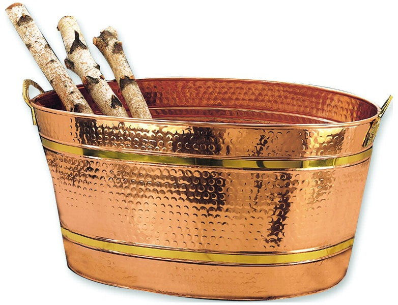 Old Dutch 879 Oval Decor Copper Party Tub Wine Cooler and Ice Bucket, 11 Gallons