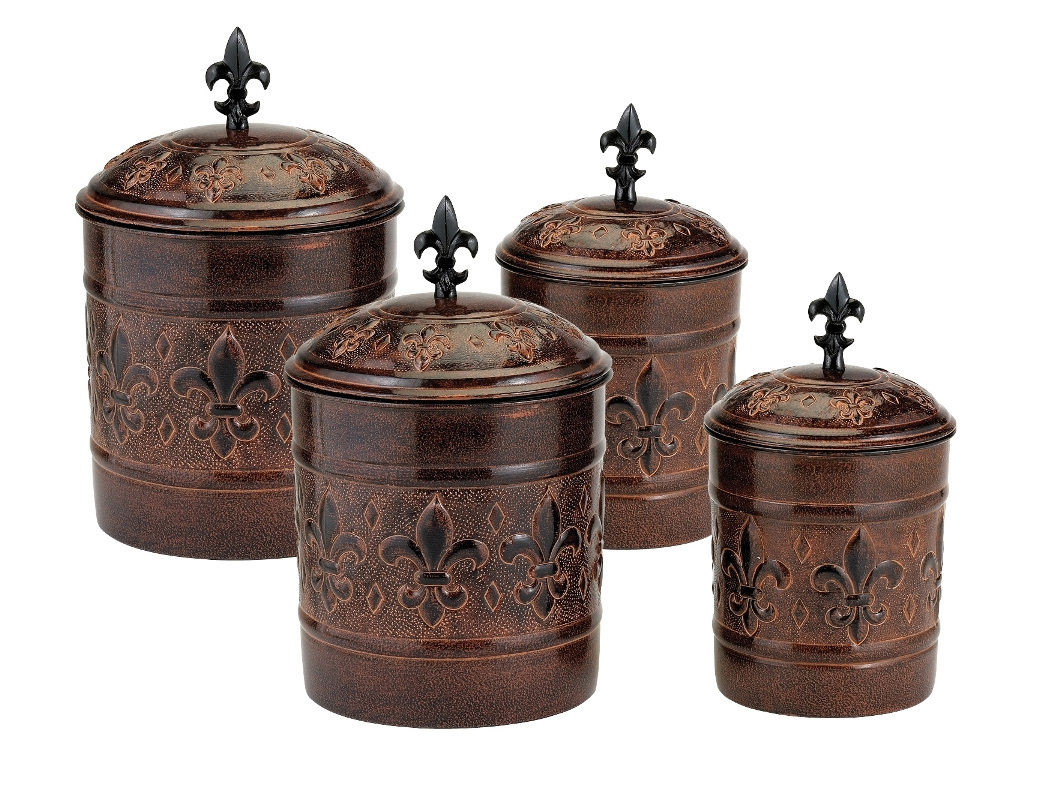 Old Dutch International 730 4 Piece Versailles Canister Set with Fresh Seal Covers
