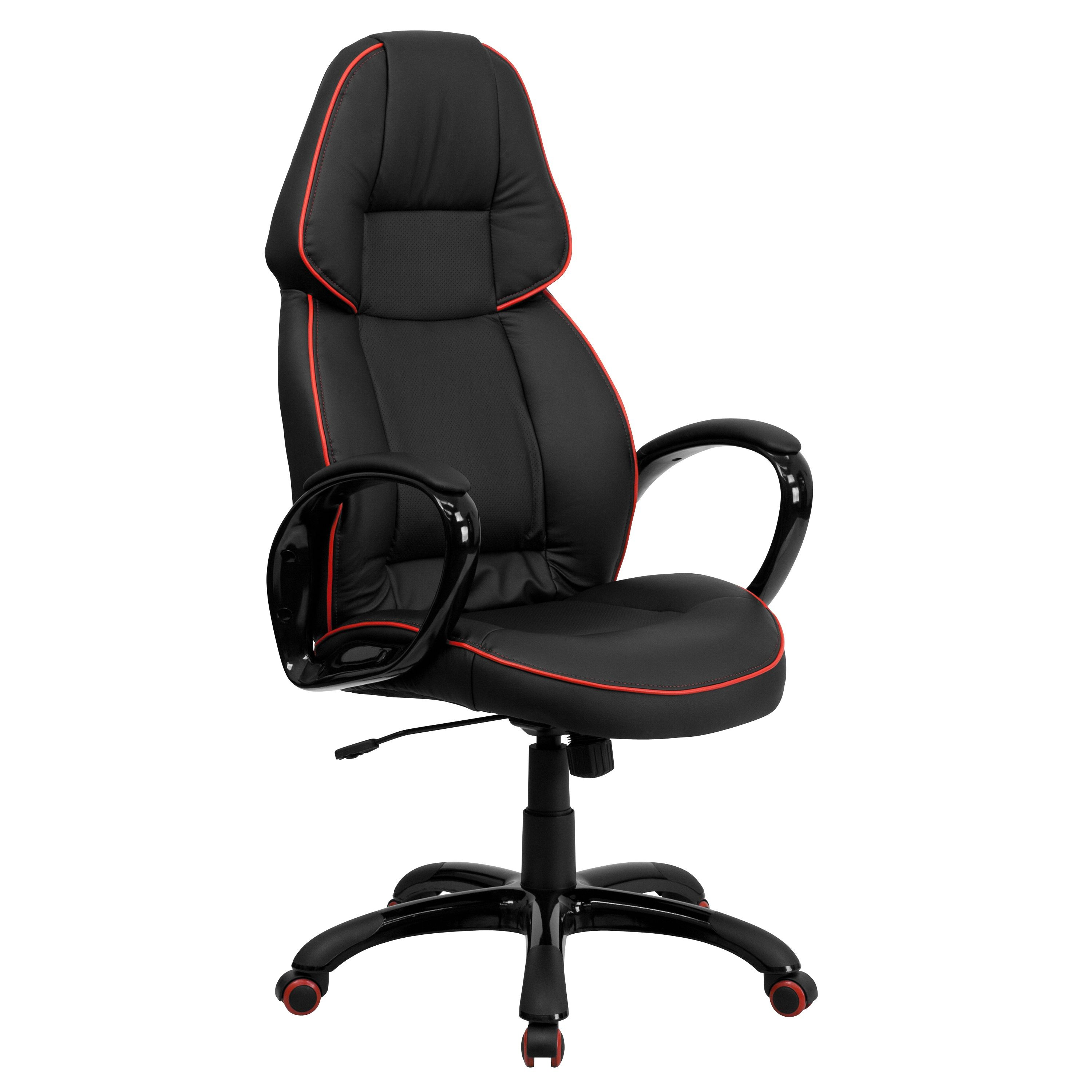 Flash Furniture CH-CX0248H01-VEN-GG High Back Black Vinyl Executive Office Chair with Red Pipeline Border