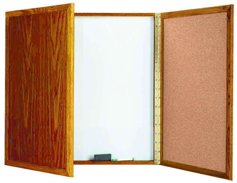 "Aarco Products OP-36 Enclosed Melamine Planning Board with Oak Frame, 36""H x 36""W"