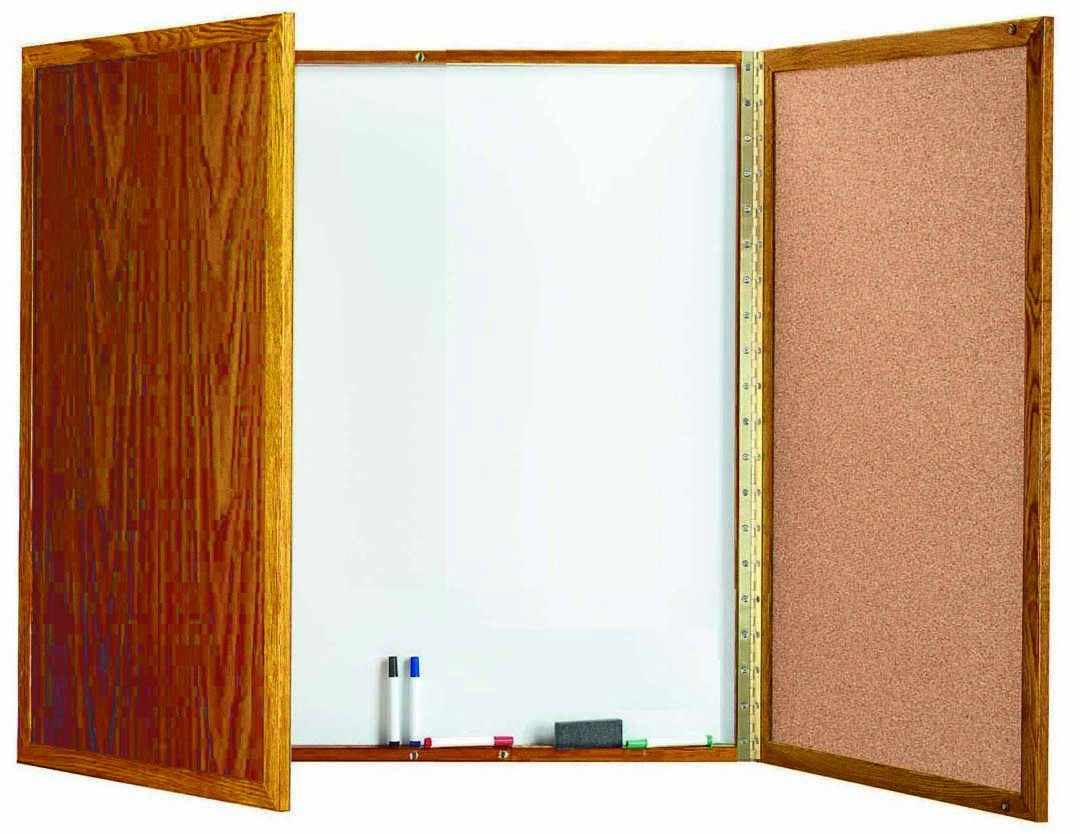 "Aarco Products OP-40 Enclosed Melamine Planning Board with Oak Frame, 40""H x 40""W"