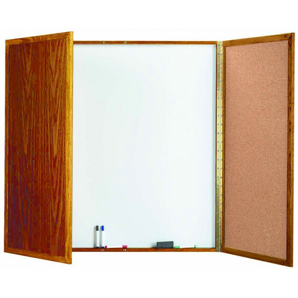 "Aarco Products OP-48 Enclosed Melamine Planning Board with Oak Frame, 48""H x 48""W"