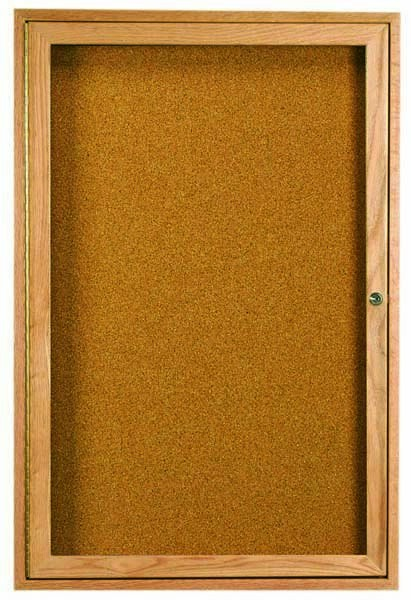 "Aarco Products OBC2418R 1 Door Enclosed Bulletin Board with Oak Finish, 24""H x 18""W"