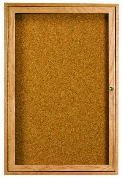 Oak Frame 1-Door Enclosed Bulletin Board Cabinet - 24