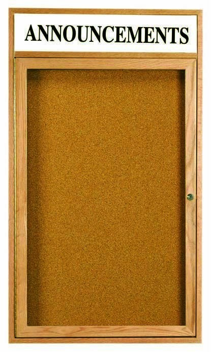 Oak Frame 1-Door Enclosed Bulletin Board Cabinet W/header - 24