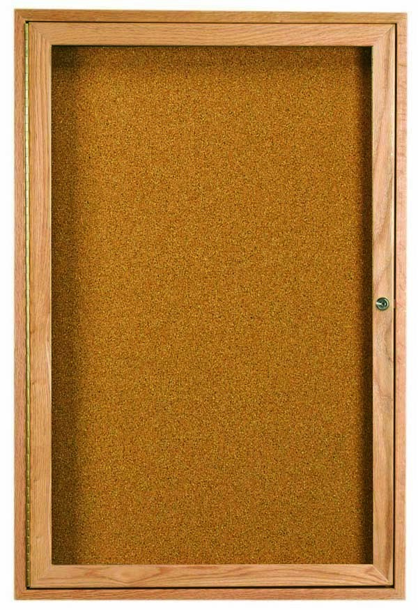 """Aarco Products OBC3624R 1 Door Enclosed Bulletin Board with Oak Finish, 36""""H x 24""""W"""