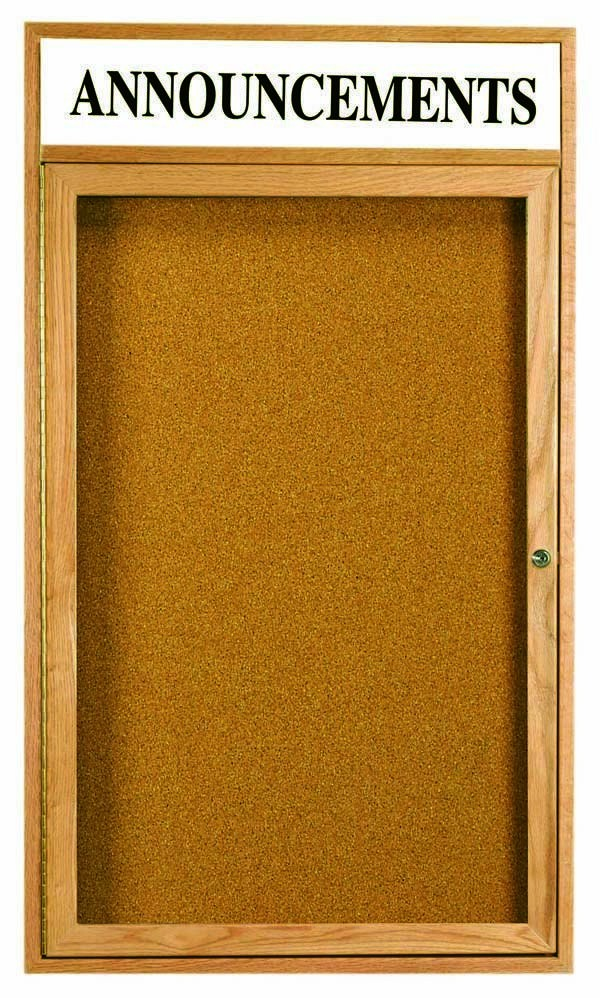 "Aarco Products OBC3624RH 1 Door Enclosed Bulletin Board with Header and Oak Finish, 36""H x 24""W"