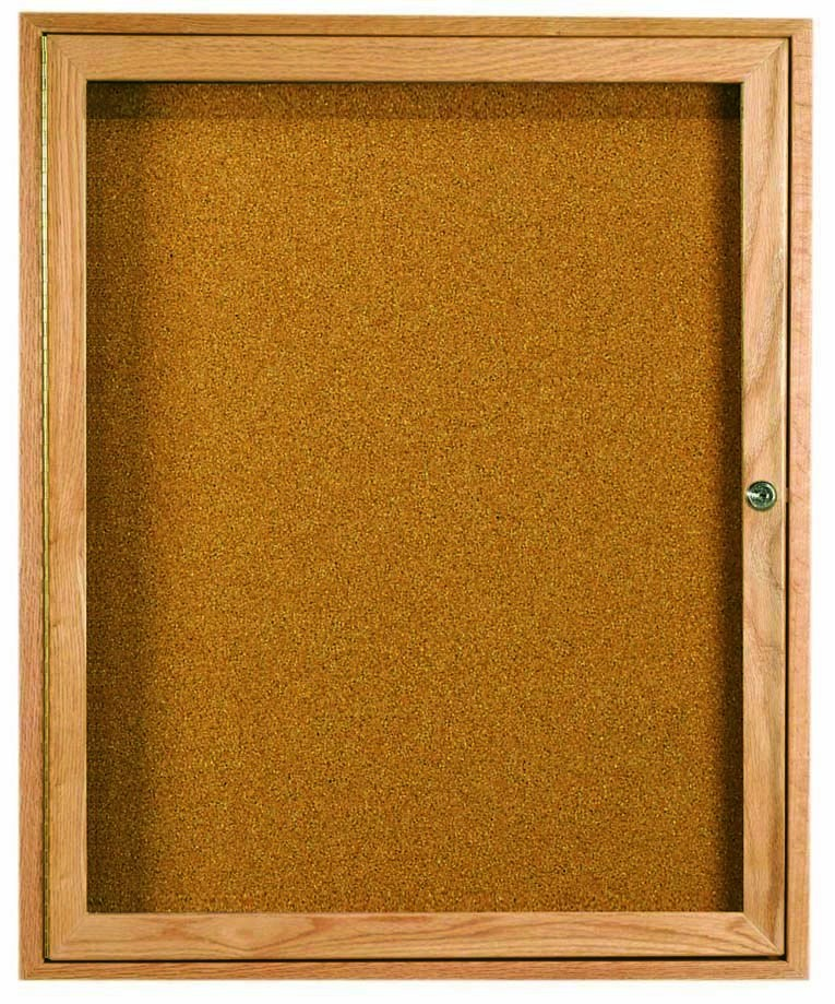 "Aarco Products OBC3630R 1 Door Enclosed Bulletin Board with Oak Finish, 36""H x 30""W"