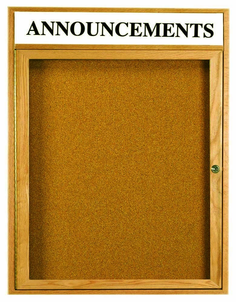 Oak Frame 1-Door Enclosed Bulletin Board Cabinet W/header - 36