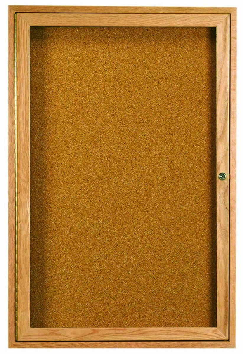 "Aarco Products OBC4836R 1 Door Enclosed Bulletin Board with Oak Finish 48""H x 36""W"