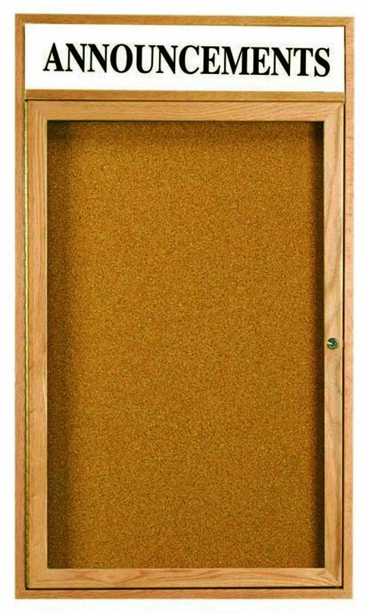 """Aarco Products OBC4836RH 2 Door Enclosed Bulletin Board with Header and Oak Finish, 48""""H x 36""""W"""