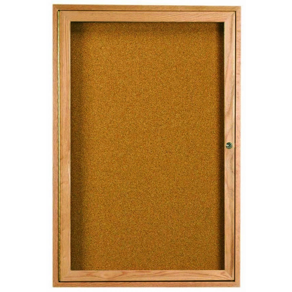 Oak Frame 1-Door Enclosed Bulletin Board Cabinet - 36