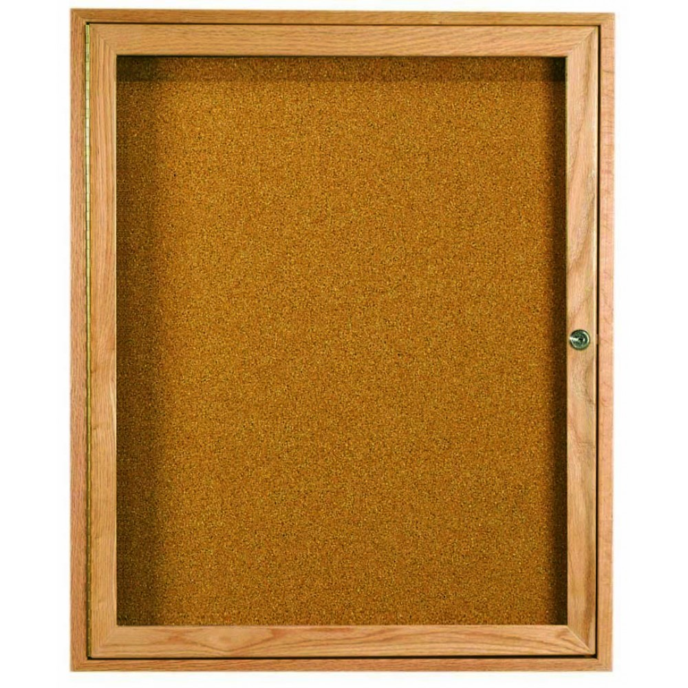 Oak Frame 1-Door Enclosed Bulletin Board Cabinet - 36