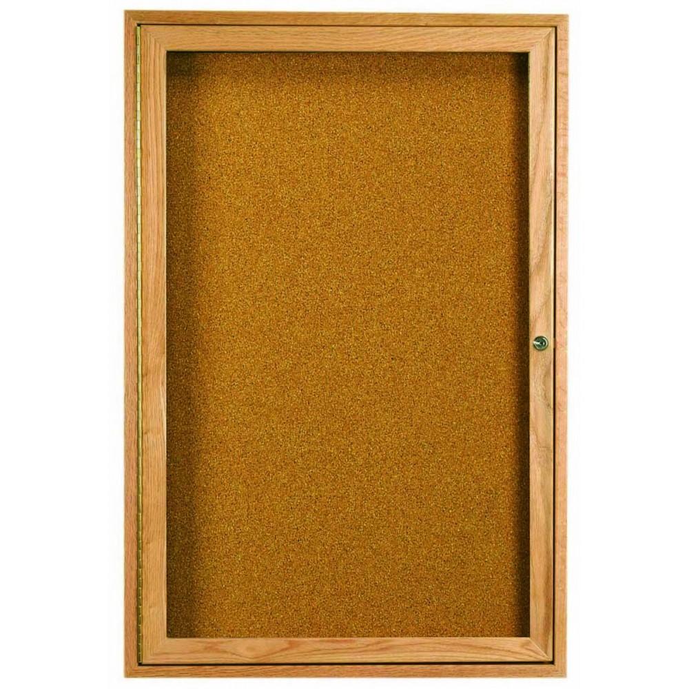 Oak Frame 1-Door Enclosed Bulletin Board Cabinet - 48