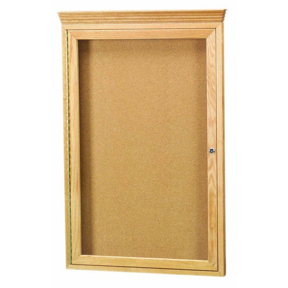Oak Frame 1-Door Enclosed Bulletin Board Cabinet W/crown Molding - 36