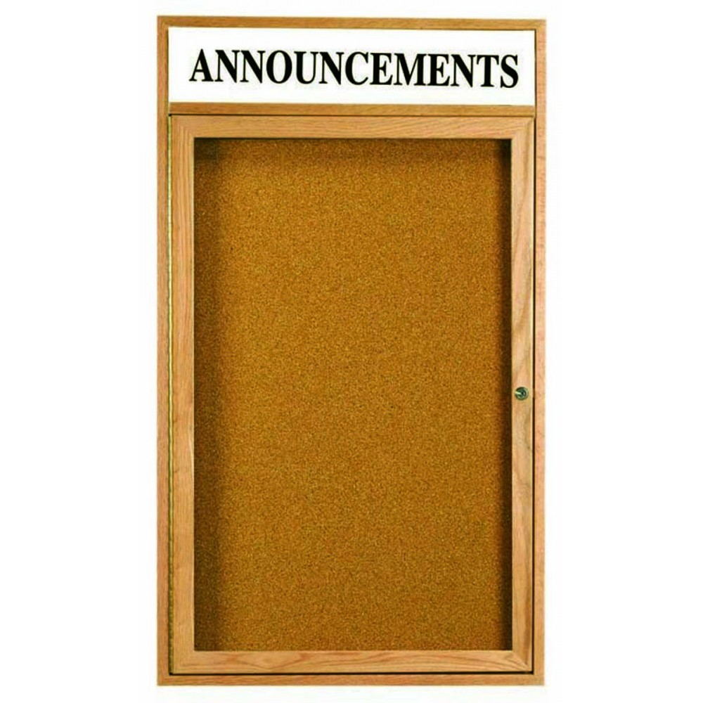 Oak Frame 1-Door Enclosed Bulletin Board Cabinet W/header - 48