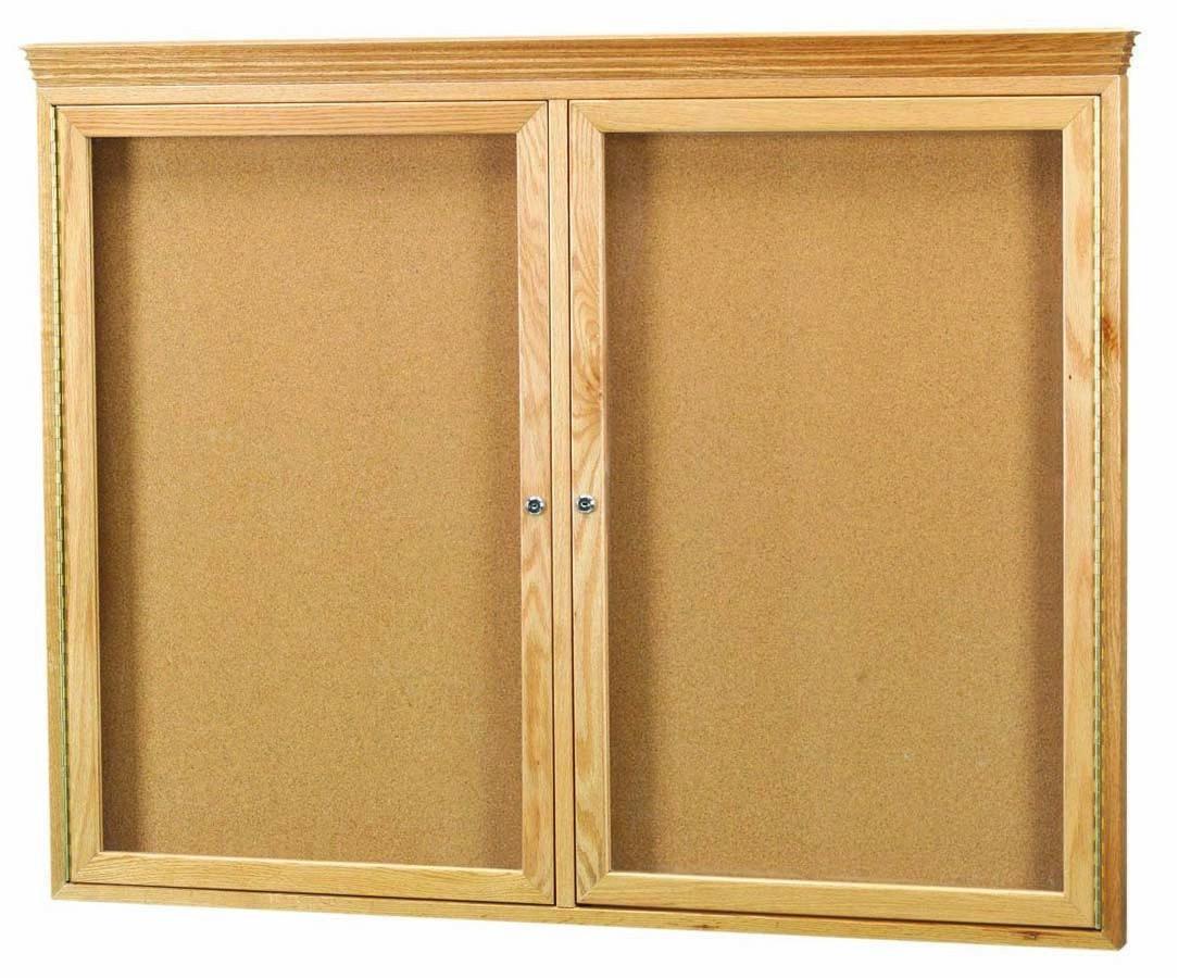 Oak Frame 2-Door Enclosed Bulletin Board Cabinet W/crown Molding ...