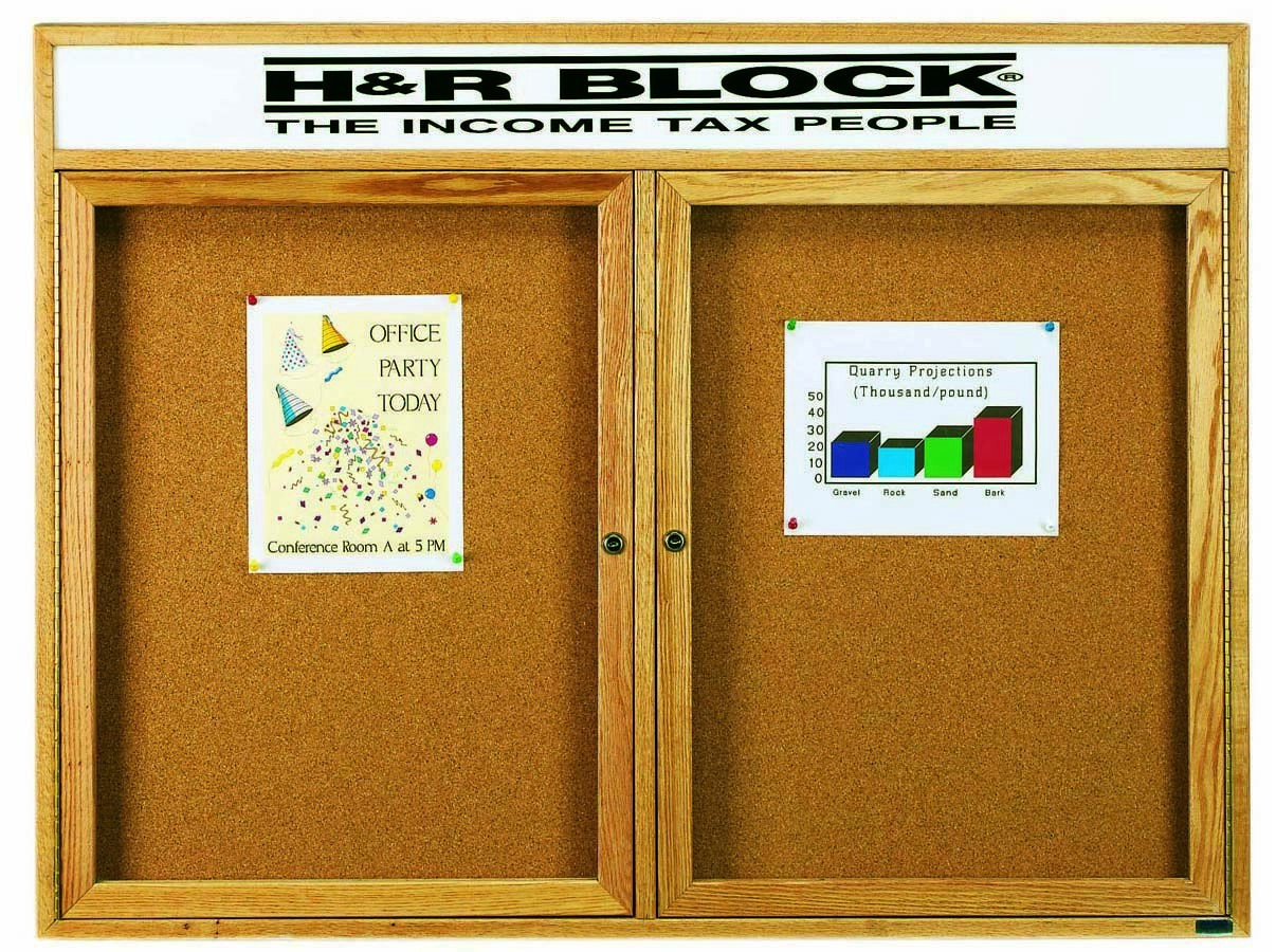 "Aarco Products OBC3648RH 1 Door Enclosed Bulletin Board with Header and Oak Finish, 36""H x 48""W"
