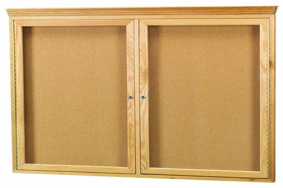 Oak Frame 2-Door Enclosed Bulletin Board Cabinet W/crown Molding - 36