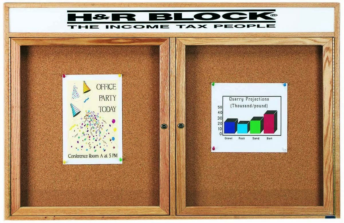 "Aarco Products OBC3660RH 1 Door Enclosed Bulletin Board with Header and Oak Finish, 36""H x 60""W"