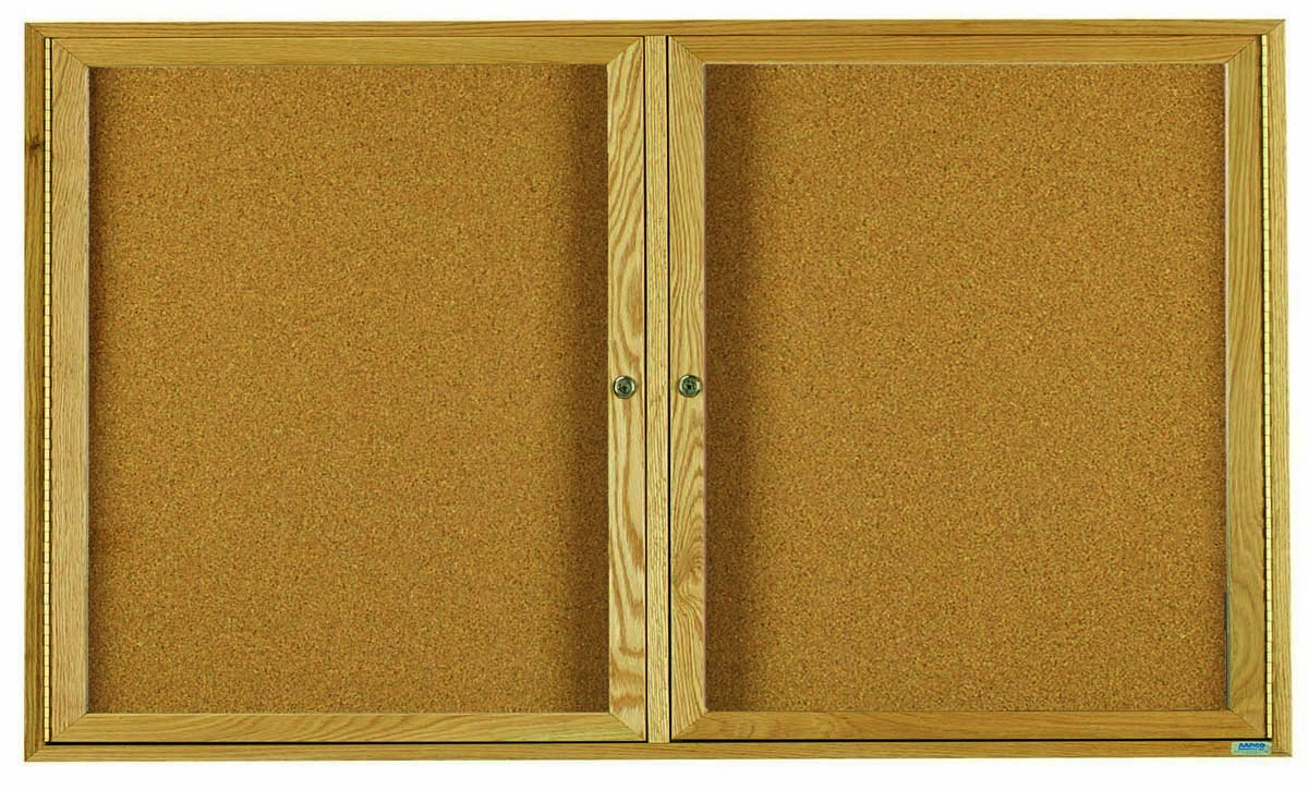 Oak Frame 2-Door Enclosed Bulletin Board Cabinet - 36