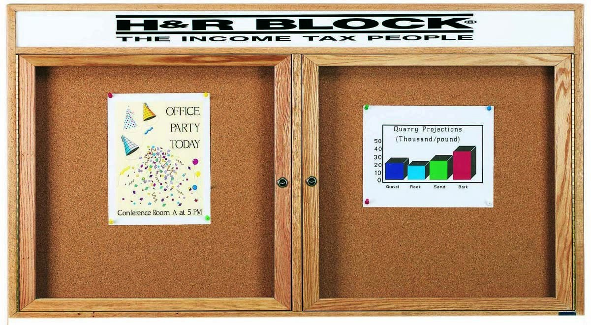 "Aarco Products OBC3672RH 2 Door Enclosed Bulletin Board with Header and Oak Finish, 36""H x 72""W"