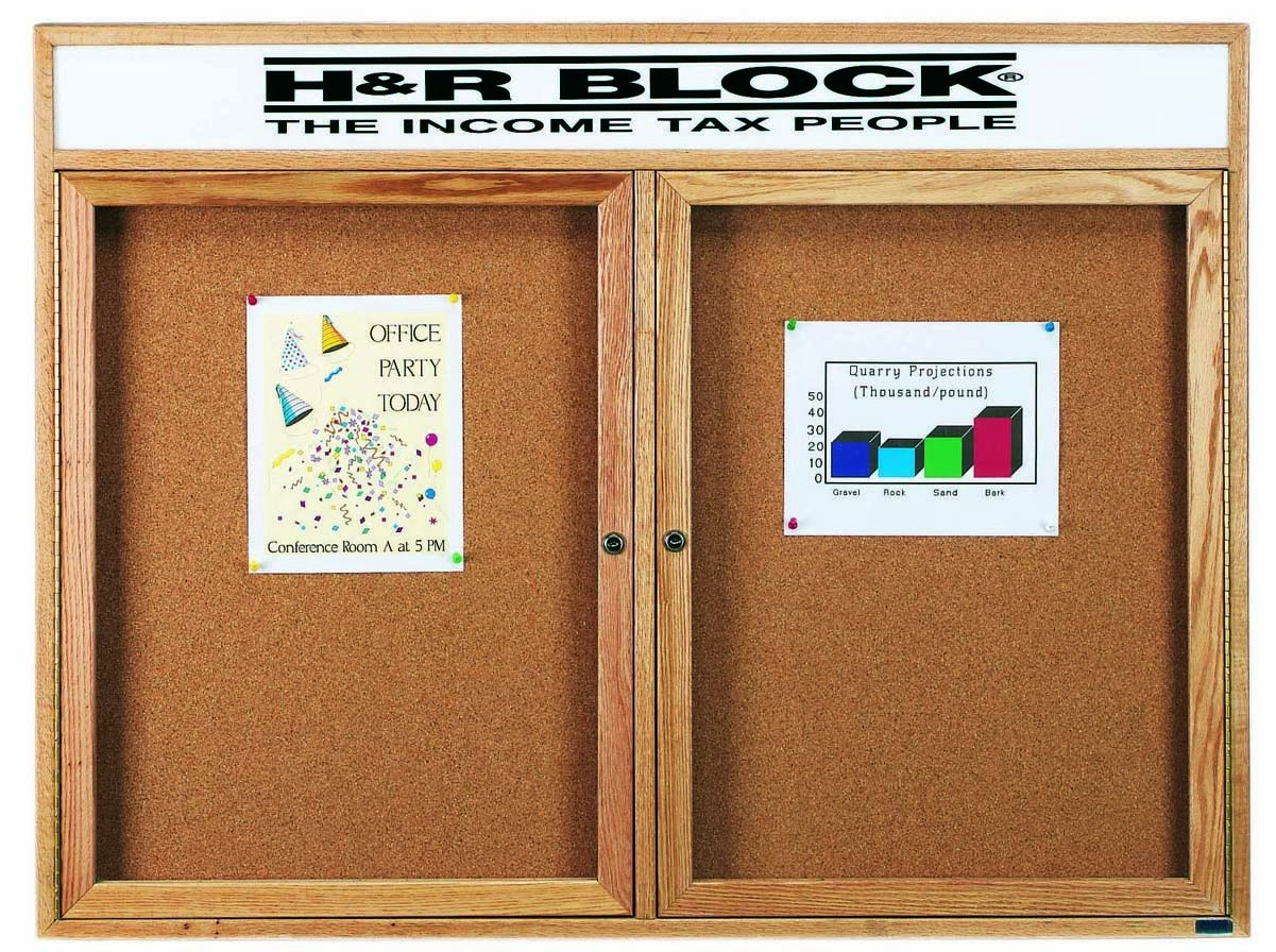 Oak Frame 2-Door Enclosed Bulletin Board Cabinet W/header - 48