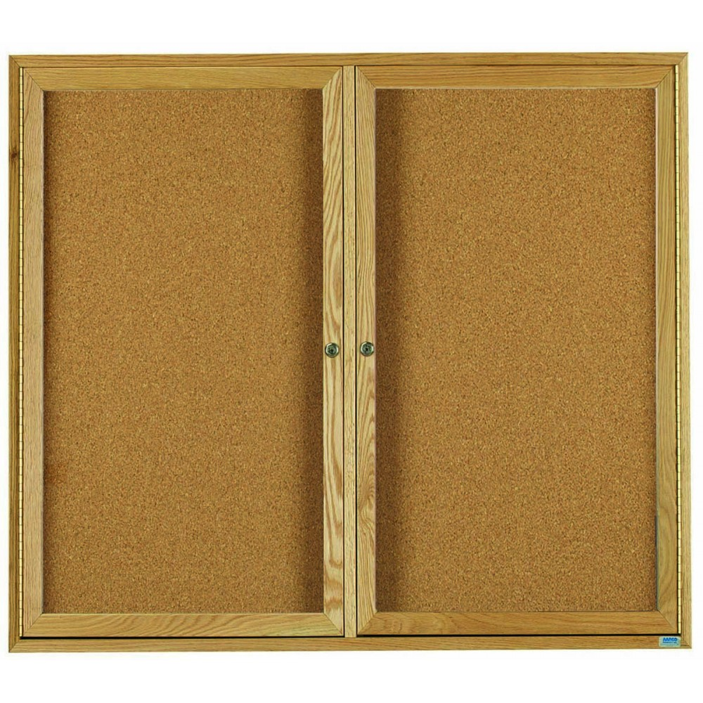 "Aarco Products OBC3648R 2 Door Enclosed Bulletin Board with Oak Finish 36""H x 48""W"