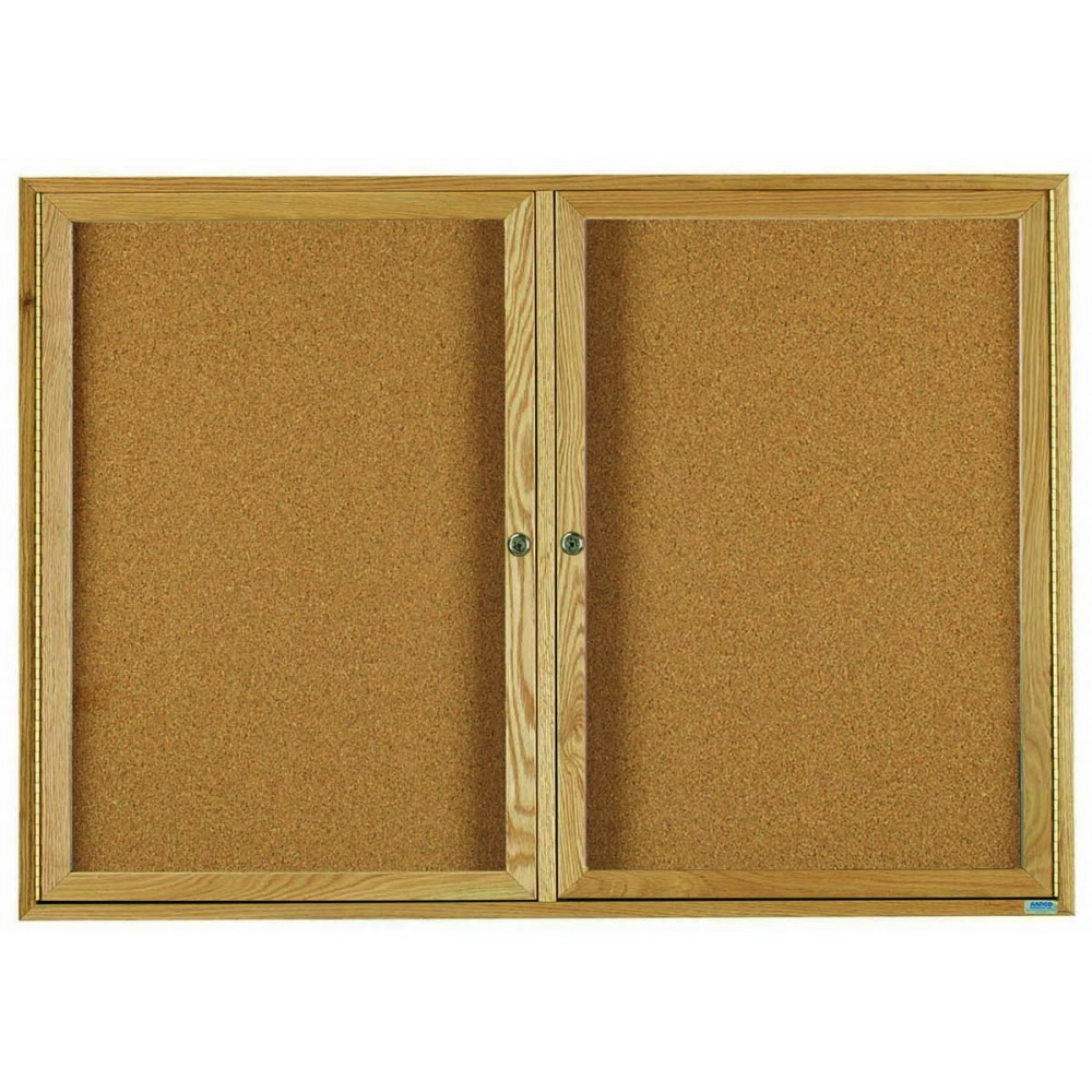 "Aarco Products OBC3660R 2 Door Enclosed Bulletin Board with Oak Finish, 36""H x 60""W"