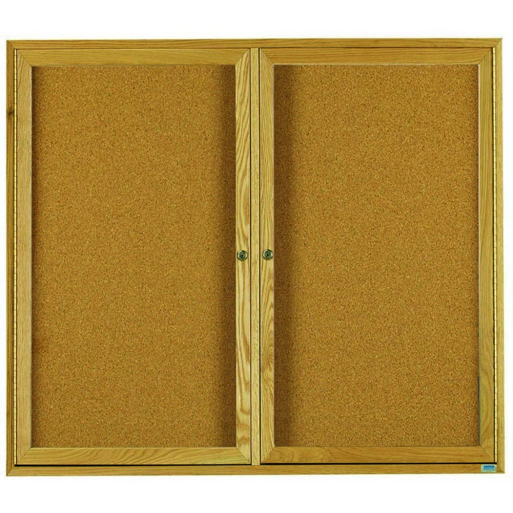 "Aarco Products OBC4860R 2 Door Enclosed Bulletin Board with Oak Finish 48""H x 60""W"