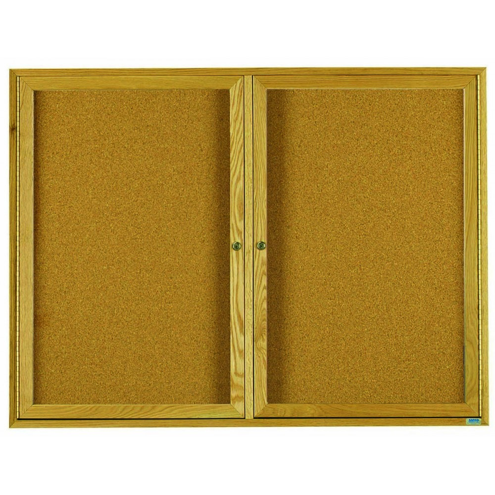 Oak Frame 2-Door Enclosed Bulletin Board Cabinet - 48
