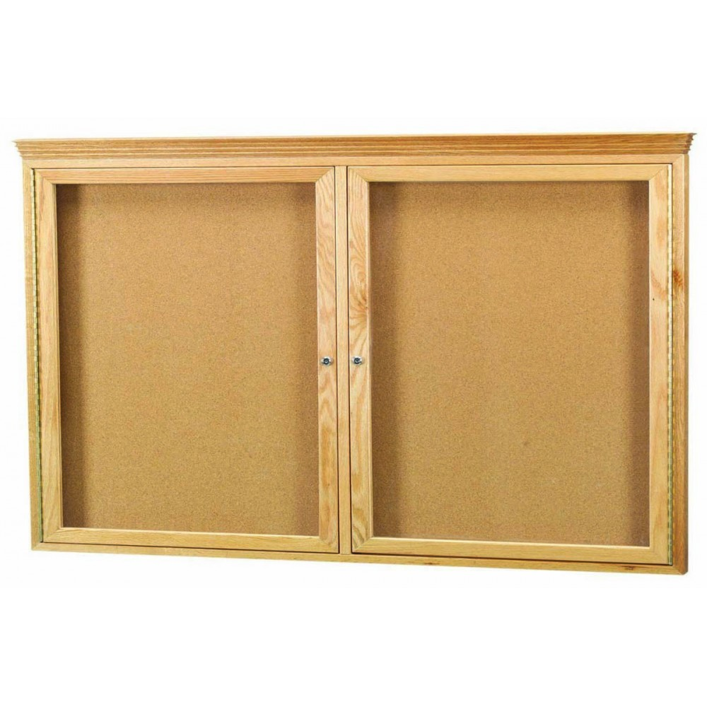 "Aarco Products OBC3660RC 2 Door Enclosed Bulletin Board with Crown Molding and Oak Finish, 36""H x 60""W"