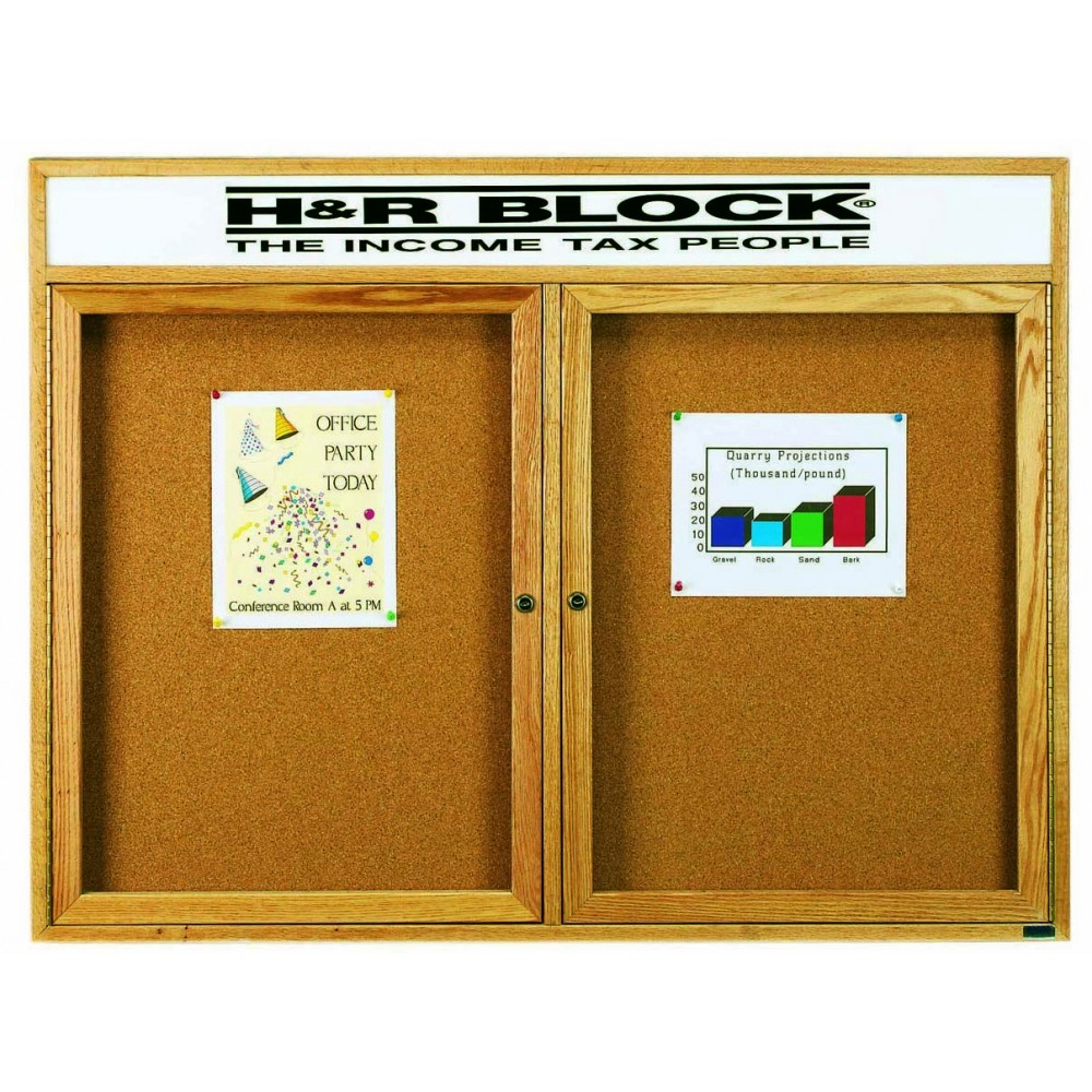 Oak Frame 2-Door Enclosed Bulletin Board Cabinet W/header - 36