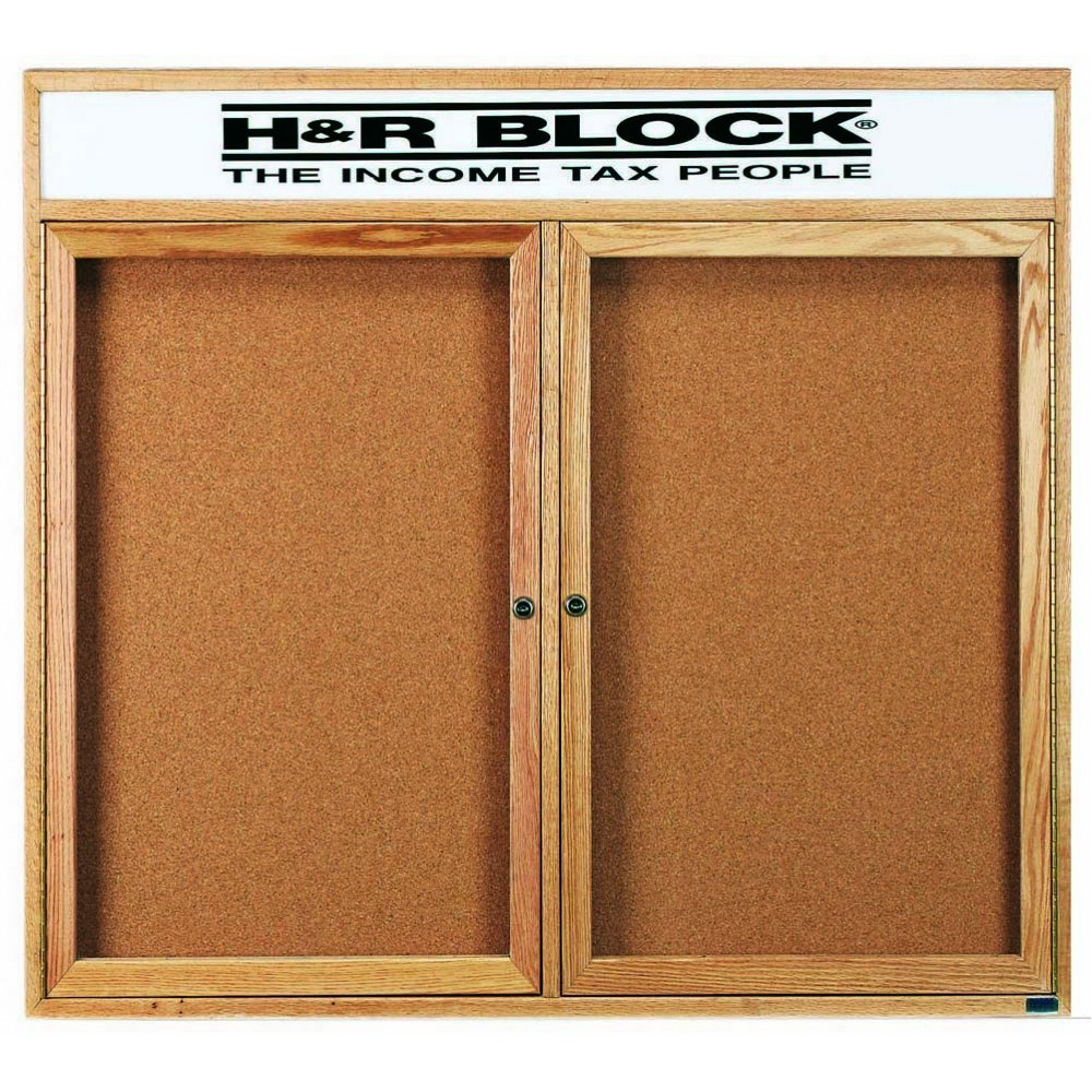 "Aarco Products OBC4860RH 2 Door Enclosed Bulletin Board with Header and Oak Finish, 48""H x 60""W"