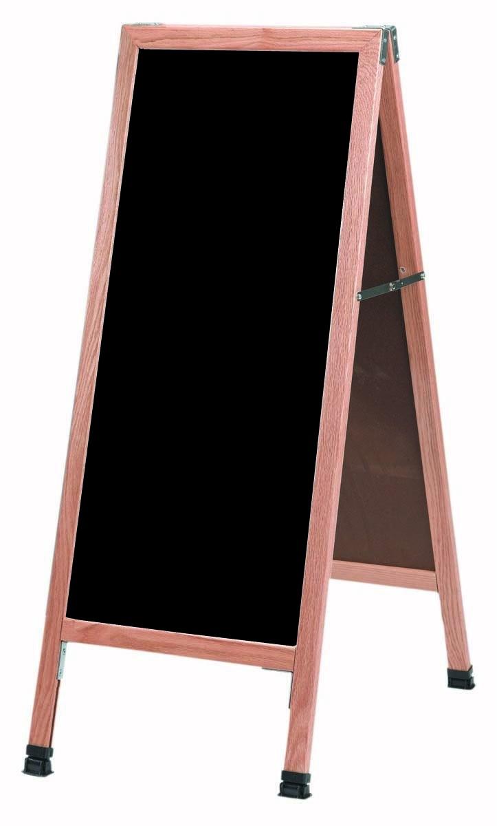 "Aarco Products A-3P Solid Oak A-Frame Black Acrylic Sidewalk Markerboard 18""W x 42""H"
