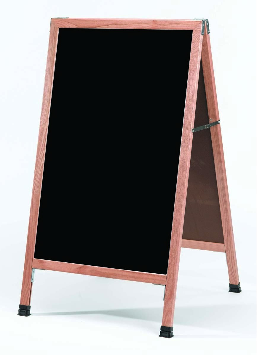 "Aarco Products A-11 Oak Frame Black Marker board A-Frame 24""W x 42""H"