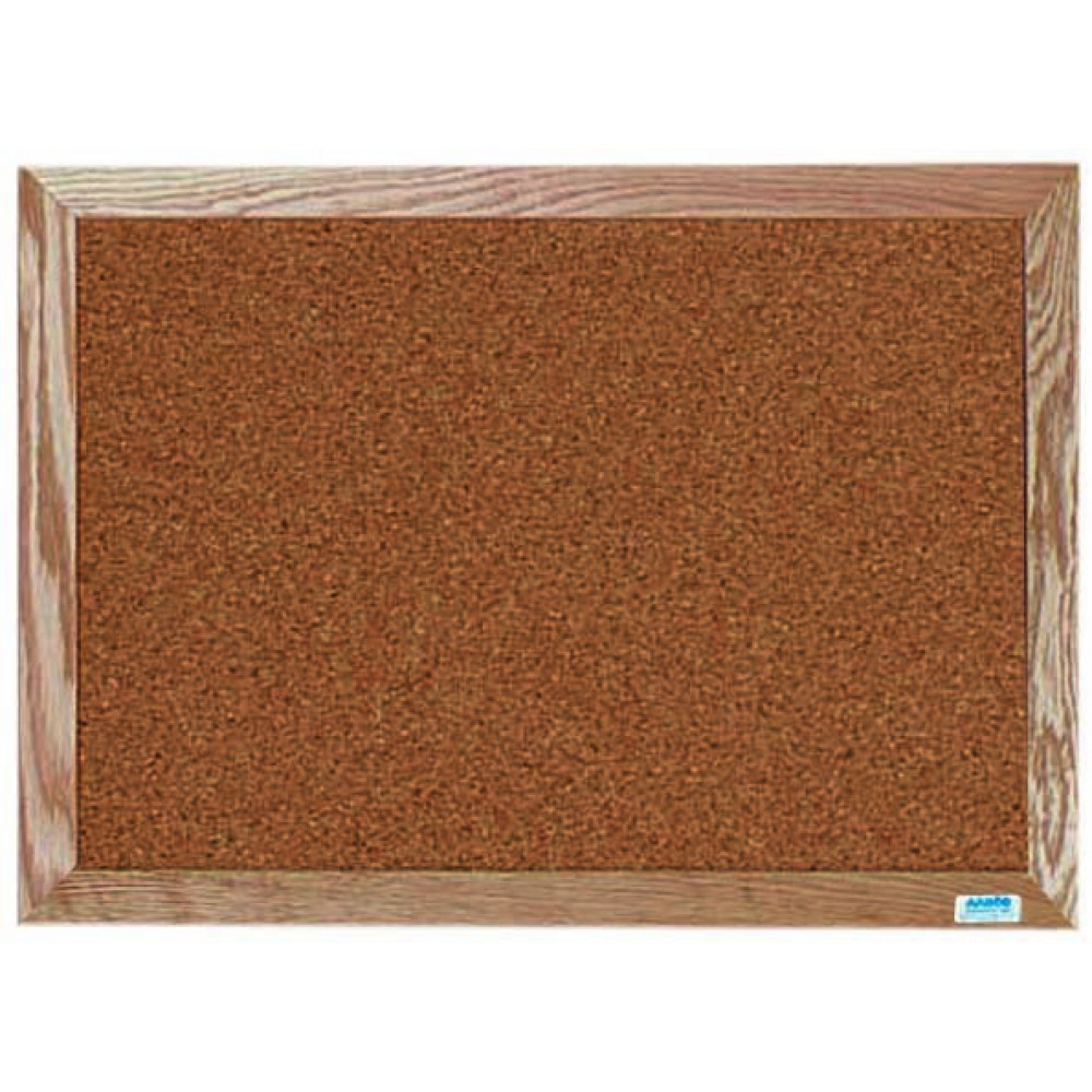 "Aarco Products OB1824 Natural Pebble Grain Cork Bulletin Board with Red Oak Frame 18""H x 24""W"