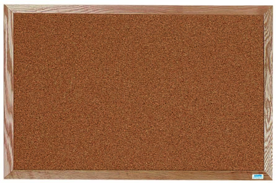"""Aarco Products OB2436 Natural Pebble Grain Cork Bulletin Board with Red Oak Frame 24""""H x 36""""W"""