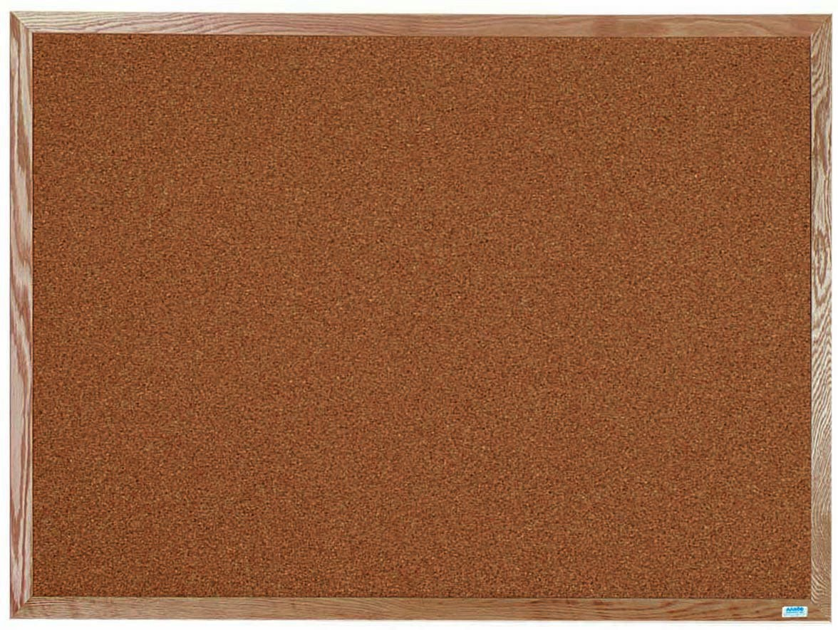 "Aarco Products OB3648 Natural Pebble Grain Cork Bulletin Board with Red Oak Frame 36""H x 48""W"