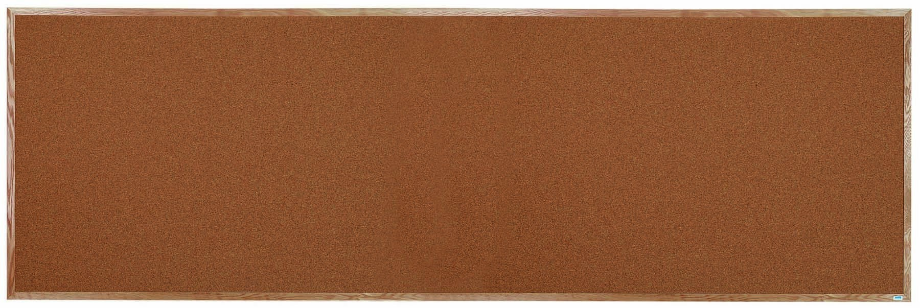 "Aarco Products OB48144 Natural Pebble Grain Cork Bulletin Board with Red Oak Frame 48""H x 144""W"