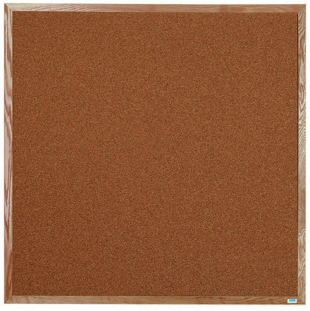 "Aarco Products OB4848 Natural Pebble Grain Cork Bulletin Board with Red Oak Frame 48""W x 48""H"