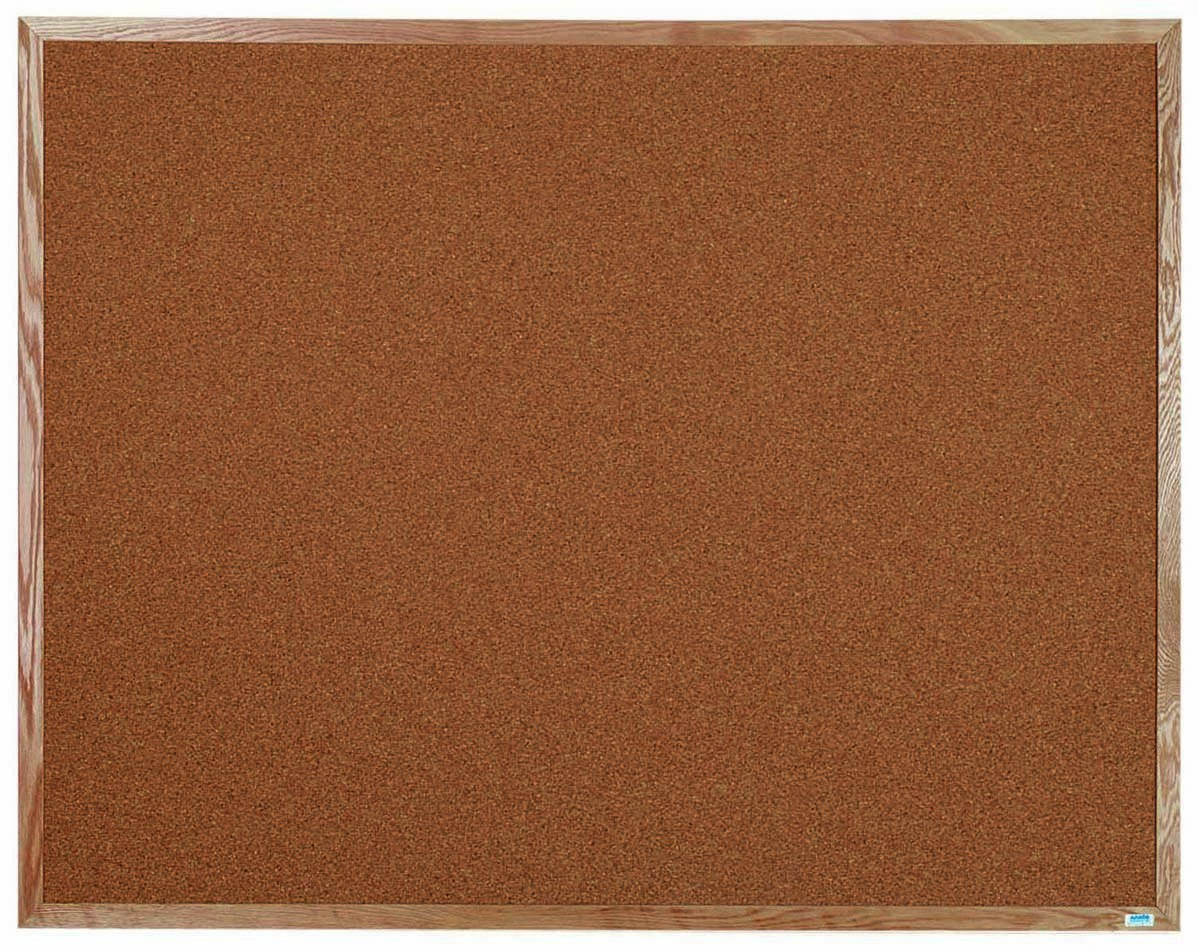 "Aarco Products OB4860 Natural Pebble Grain Cork Bulletin Board with Red Oak Frame 60""W x 48""H"